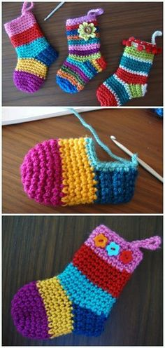 Christmas Socks Ornament Crochet Free Pattern - DIY section of information related to. Crochet Simple, Crochet Diy, Crochet Slippers, Crochet Crafts, Crochet Projects, Diy Projects, Booties Crochet, Crochet Ideas, Crochet Christmas Decorations
