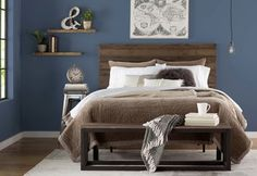 Get inspired by Industrial Bedroom Design photo by Trent Austin Design. Wayfair lets you find the designer products in the photo and get ideas from thousands of other Industrial Bedroom Design photos. Industrial Bedroom Design, Rustic Bedroom Design, Best Bedroom Paint Colors, Bedroom Color Schemes, Blue Bedroom, Bedroom Decor, Bedroom Ideas, Bedroom Furniture, Cozy Bedroom