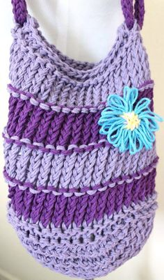 Purple Cotton Loom Knit Bag by sparkleknit on Etsy, $27.00