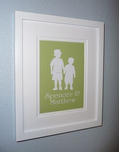 Custom Silhouette Print BROTHERS Modern Kids - Choose your size and colors. $14.00, via Etsy.