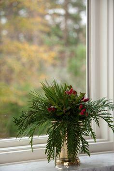 mint julip cup flower arrangement for Christmas