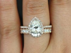 Tabitha Grande & Cordelia 14kt Rose Gold Pear FB Moissanite and Diamonds Halo Wedding Set (Other metals and stone options available)