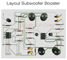 Subwoofer booster circuit with PCB Layout - Electronic Circuit Best Subwoofer, Subwoofer Speaker, Powered Subwoofer, Audio Amplifier, Audiophile, Diy Electronics, Electronics Projects, Diy Speakers, Circuit Diagram
