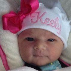 NEWBORN GIRL HAT, Bright Pink Thread, Hot Pink Boutique Bow, Beanie Hat, Hospital Hat, Name Reveal, Newborn Hospital Hat, Baby Beenie,