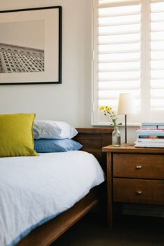 Adrian and Jason Tuazon-McCheyne bedroom - love the colors, textures, and simplicity