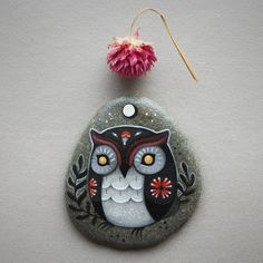 Latest owl in my Etsy shop - link in bio.  Pink is a rare color from me. Even so, I think this amaranth moon owl is one of my new favorites.   •●•●•●•  #palepink #fuchsia #purple #hot pink #cute #folk #amaranth #driedflower #owltotem #paintedstone #etsyshop