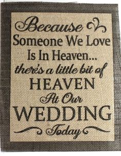 Rustic Vinatge Chic Country Burlap Wedding Someone We Love Is in Heaven 8x10 | eBay