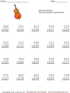 Free Addition Worksheets, 3 Digits With Carrying Math Practice Worksheets, Printable Math Worksheets, Kindergarten Math Worksheets, School Worksheets, Math Activities, Addition And Subtraction Practice, Addition Worksheets, Math Sheets, Second Grade Math