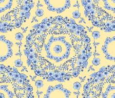 Blue Rhapsody fabric by Patricia Shea on #Spoonflower - a new old fashioned floral, an homage to Wedgwood, originally painted by hand in watercolour on paper.
