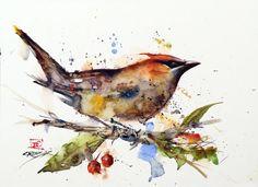 CEDAR WAXWING Watercolor Bird Print Bird Art by DeanCrouserArt