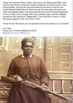 "Mary Fields, the first African-American woman employed as a mail carrier in the United States, 1895 [[MORE]] "" Mary Fields, also known as Stagecoach Mary and Black Mary (c. was the first African-American woman employed as a mail carrier. Susanoo, Into The West, Foto Real, Black History Facts, Strange History, We Are The World, Le Far West, Interesting History, African American History"