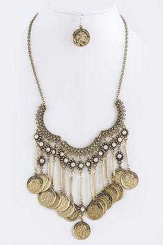 Desperado Coin Fringe Necklace - Antique Gold