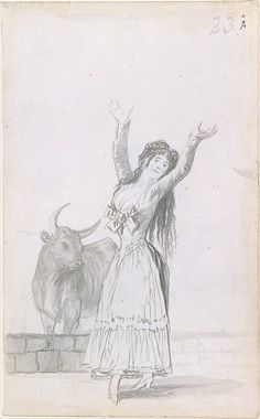 A Young Woman and a Bull Series/Portfolio: Madrid Album (B,), no. 23 Artist: Goya (Francisco de Goya y Lucientes) (Spanish, Fuendetodos 1746–1828 Bordeaux) Date: 1796–97 Medium: Brush and gray wash on laid Netherlandish paper