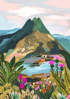 Travel Illustration, Landscape Illustration, Watercolor Illustration, Illustration Styles, Watercolor Sketch, Art Illustrations, Digital Illustration, Abstract Landscape, Landscape Paintings