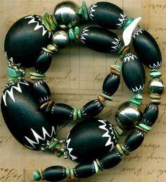 "Old Southwest Chevron Trade Beads Black/White~6 Layer~Turquoise18"" Shell Bird"