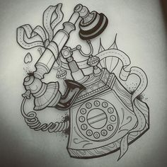 """""""Gunna watercolour the crap out of this phone this weekend! ..almost bought one from the antiques store the other day! ❤️so a drawing will have to tide me over➰➰➰ #luckystriketattoo"""" Photo taken by @j00lie on Instagram, pinned via the InstaPin iOS App! http://www.instapinapp.com (08/22/2015)"""
