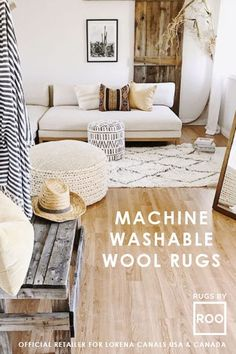 What makes this space so inviting? The reclaimed wood barn door exhibits warmth coupled with the soft Berber Soul Wool Rug in a discrete berber pattern does the trick! Washable Area Rugs, Wood Barn Door, Lorena Canals, Blue Cushions, Better Homes And Gardens, Rugs In Living Room, Wool Rug, Baby Kids, Kids Room