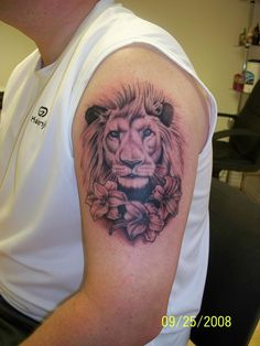 lion tattoo. Think peonies instead....