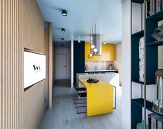 Small apartment designed in a very functional space! Fresh project in Cluj-Napoca! Small Apartment Design, Small Apartments, Smart Kitchen, Romania, Architects, Locker Storage, Kitchen Design, Fresh, 3d