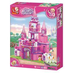 Mooi kasteel om in elkaar te zetten en om ermee te spelen! Bij het kasteel horen verschillende poppetjes en zelfs een paardje! De mooie kleuren en glittertjes in de torens maken het geheel tot een romantisch kasteel! Inclusief 4 poppetjes. Aantal blokjes 472. Afmeting: verpakking 46 x 37 x 7 cm - Sluban Prinsessenkasteel