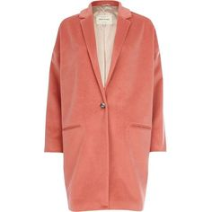 River Island Coral oversized coat ($38) ❤ liked on Polyvore featuring outerwear, coats, jackets, coats & jackets, tops, orange, sale, oversized coat, orange coat and river island coats