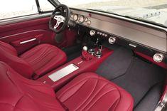 "1966 Chevrolet Chevelle Custom ""Pro - Touring"" grey Raspberry Red European Leather Interior, molded headliner. custom console"