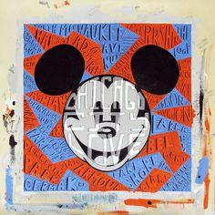 """Chicago City Love"" By Tennessee Loveless - Original Acrylic on Canvas, 14x14.  #Disney #MickeyMouse #DisneyFineArt #TennesseeLoveless"