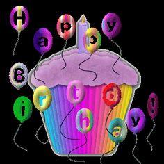 Pequeño pastel de cumpleaños con globos de Happy Birthday