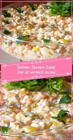 Sieben-Tassen-Salat Der ist wirklich lecker – RezepteBlog.net Greek Tortellini Salad, Orzo, Best Macaroni Salad, Macaroni And Cheese, Chicory Salad, Glass Noodle Salad, Easy Pasta Salad Recipe, Cold Pasta, Different Vegetables