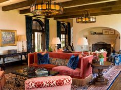David L. Leavengood Turns a California Horse Ranch Into a Spanish Colonial-Style Residence Photos Mexican Living Rooms, Mediterranean Living Rooms, Mediterranean Decor, Mediterranean Architecture, House Architecture, Mexican Hacienda, Spanish Style Decor, Spanish Style Homes, Spanish Colonial Decor