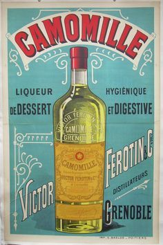Original French advertising poster for Chamomile liquer digestif.