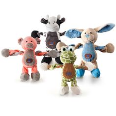 Our bright and playful Farm Pulleez toys are sure to get your pup howling with joy! With six squeakers and interactive arms that pull back and forth, these farm animals are bound to be a new playtime favorite! These plush cuties feature soft corduroy accents, and low stuffing - which is great if your dog always tries to pull out the white fluff!