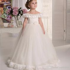 2ff43d796a5b Vintage Ivory Flower Girl Dresses A Line Tulle And Lace Floor Length 2016  Lovely Tiered Off