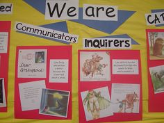 Learner profile picture book display but the kids make their own images and we record their examples in writing
