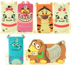 3D Cute Comical Disney Cartoon Silicone Soft Case For Galaxy Note 2 Note 3 S4