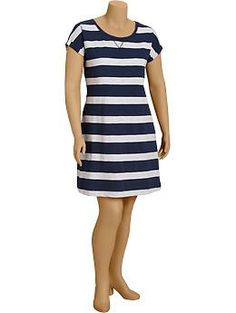 Women's Plus Rugby-Stripe Sweatshirt Dresses | Old Navy