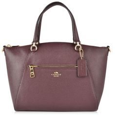 Coach Prairie Satchel Bag ($205) ❤ liked on Polyvore featuring bags, handbags, oxblood, leather purse, handbag satchel, brown leather handbags, brown handbags and coach handbags