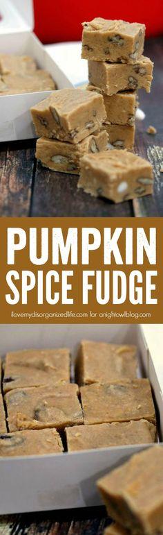 Made with real pumpkin and fall spices, this Pumpkin Spice Fudge is packed with delicious flavor!