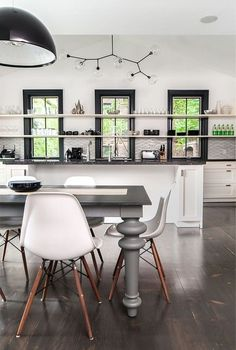 Black window frames, open shelving. Kitchen, ideas, diy, house, indoor, organization, home, design, cook, shelving, backsplash, oven, desk, decorating, bar, storage, table, interior, modern, life hack.