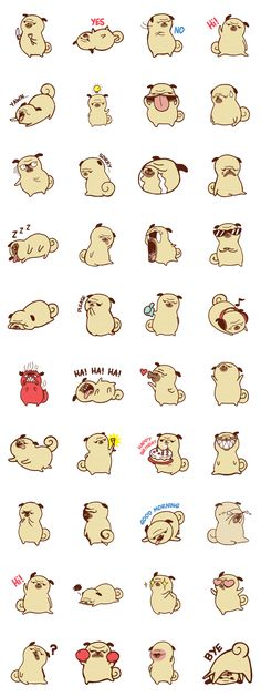 So cool pug stickers! Gappy the Pug from Line Stickers