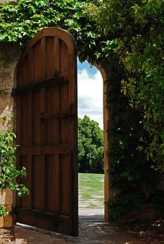"This garden door reminds me of the door in the wall in Lewis' ""The Silver Chair""-- the door that led from the dingy, gray, English autumn to the lush, sunlit summer of Aslan's Country :)"