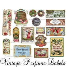 Vintage Perfume Labels | Vintage French Perfume Label Collage Sheet(4) - Buy 3 sheets and get ...