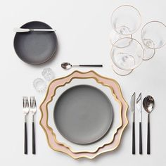 Anna Weatherley Chargers in Desert Rose + AW Dinnerware + Heath Ceramics in Indigo/Slate + Ebony Flatware + Gold Rimmed Stemware + Antique Crystal Salt Cellars | Casa de Perrin Design Presentation