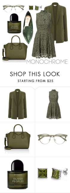 """""""Monochrome Trend: Moss"""" by elanewolfeartistry ❤ liked on Polyvore featuring Givenchy, Byredo, BERRICLE, Nicholas Kirkwood and monochrome"""