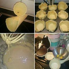 Kunde inte hålla mig längre. Blev bara tvungen att testa min nya Waffle Cone Maker. Hemgjorda glassrån.  Skålarna ska jag laborera lite med.