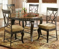 round stone top dining table set in vintage design