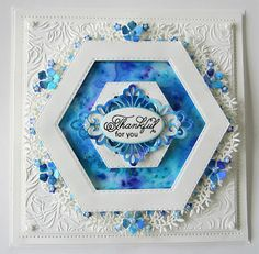 PartiCraft (Participate In Craft): Floral Framed Hexagon Card Hexagon Cards, Mermaid Crafts, Spellbinders Cards, Handmade Birthday Cards, Handmade Cards, Hexagon Pattern, Flower Cards, Making Ideas, Cardmaking