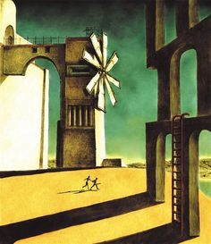 The cover for the European and Japanese versions of the PS2 game 'Ico', painted by director Fumito Ueda and inspired by the surrealist painter Giorgio de Chirico's 'The Nostalgia of the Infinite.'