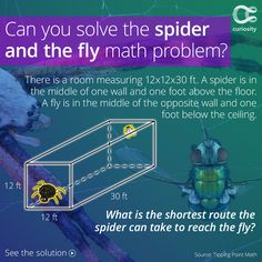 The spider and the fly math problem can be solved using geometry and Pythagorean's theorem. Here is the problem: There is a room measuring 12x12x30 ft. A spider is in the middle of one wall and one foot above the floor. A fly is in the middle of the opposite wall and one foot below the ceiling. What is the shortest route the spider can take to reach the fly?  Click the image to get the answer!