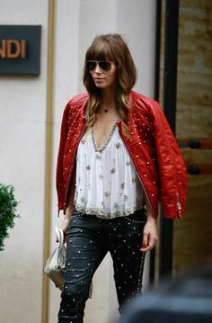 Jessica Biel goes shopping at Jean Paul Gaultier boutique and Fendi in Paris. 10-8-2012
